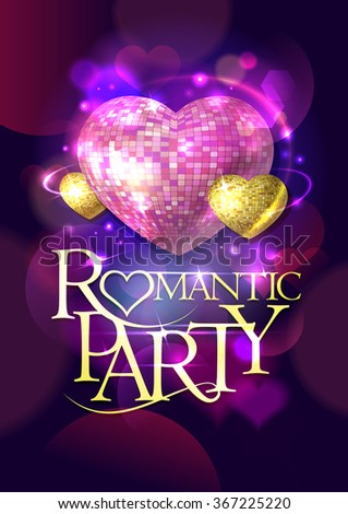 Romantic party vector design with gold and pink mosaic hearts with golden text. - stock vector