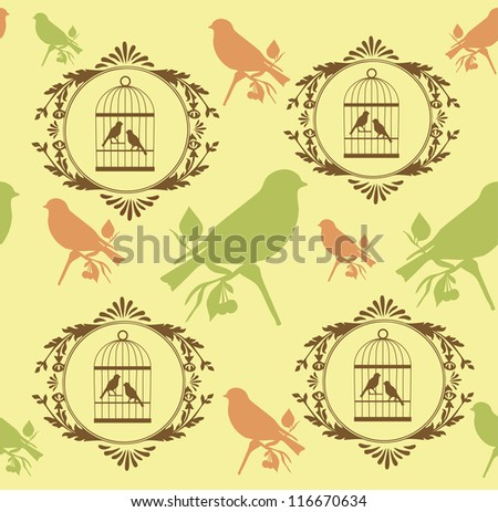 romantic pattern with canary bird. vector illustration - stock vector