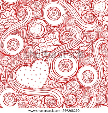Romantic pattern with doodle and hearts. Seamless pattern of original drawing zentangle hearts. Easy editing. - stock vector