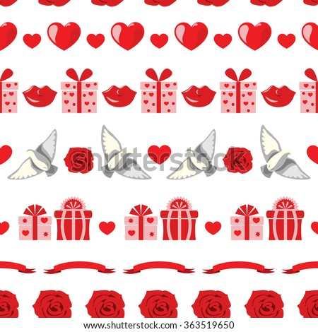 Romantic Pattern with flowers, hearts, doves and gifts. Valentine's Day and Wedding decoration. Seamless texture in white, pink and red colors. - stock vector