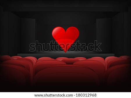 romantic performance on the stage in theater interior vector illustration