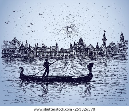 Romantic person floats on dinghy at twilight seascape at urban coast. Vector monochrome freehand ink drawn backdrop sketchy in scribble antiquity style pen on paper. Panoramic view with space for text - stock vector