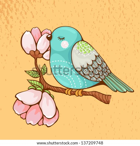 Romantic picture of a bird sitting on a blooming branch. - stock vector