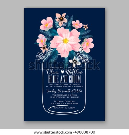 Romantic pink peony bouquet bride wedding invitation template design. Winter Christmas wreath of pink flowers and pine and fir branches. Ribbon mason jar