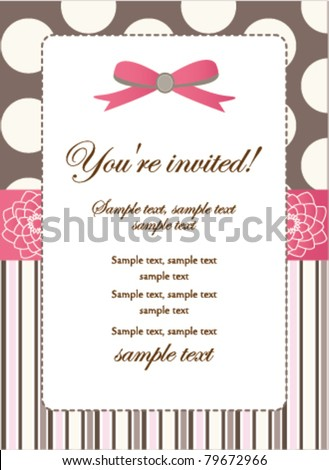 Romantic Pink Retro Invitation card - stock vector