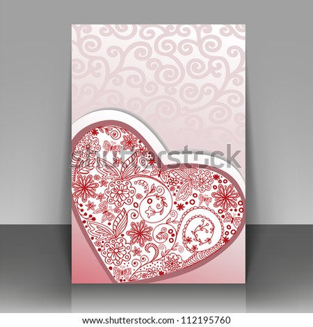 Romantic postcard with hand-drawn heart. Can be used as cover for the brochure.