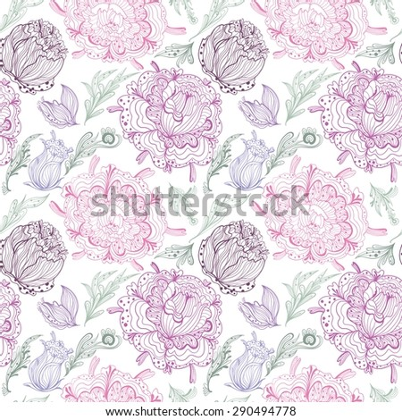 Romantic Provence Vector Pattern  |  Seamless shabby chic floral illustration with tender chrysanthemum flowers and leaves on white background