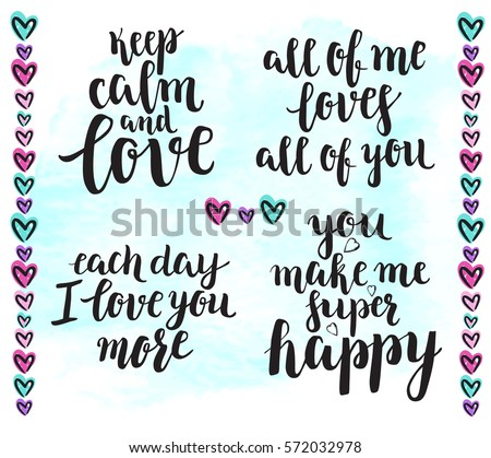 Keep Calm Love Background Modern Calligraphy Stock Vector ...