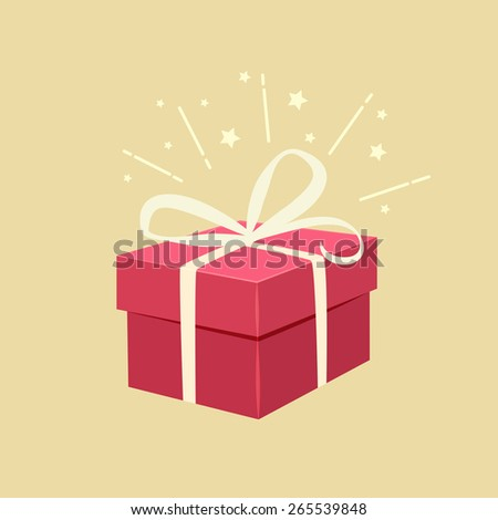 Romantic red gift box decorated with a bow and sparkle effect on a beige background for Valentines, a wedding, anniversary or Christmas celebration, vector illustration