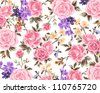 romantic rose pattern,floral pattern,winter - stock