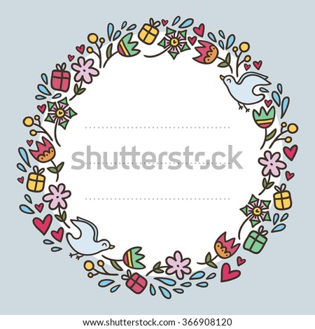 Romantic round frame with flowers, hearts, gifts and birds on light blue background with copy space for text, Valentine's Day greeting card design template - stock vector