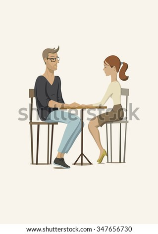 Romantic scene with a couple in love. Young man and woman at the table. Vector illustration. - stock vector
