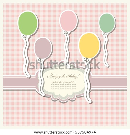 Romantic scrap booking template for invitation, greeting, baby shower card, happy birthday label, postcard frame or child album. Vector.