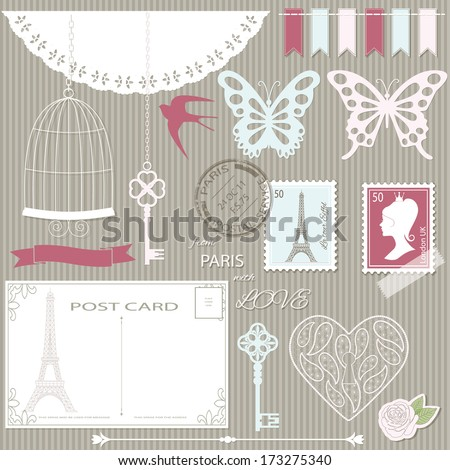 Romantic scrapbook design elements set - paper cut butterfly, antique key, bird cage, card, stamp, laced heard, garland. - stock vector