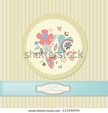 Romantic scrapbooking for invitation, greeting, happy birthday label, postcard frame, baby texture, child album, children pattern, holiday card, color gift - stock vector