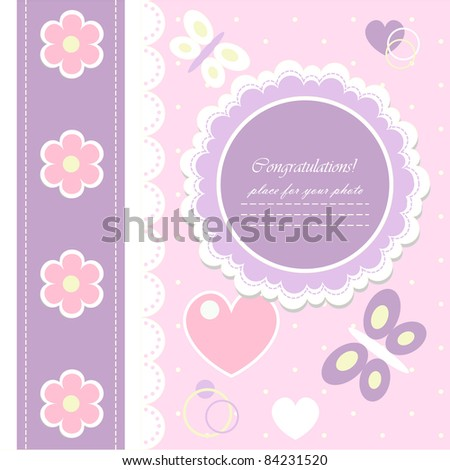 Romantic scrapbooking (vector version eps 8). Baby beautiful girl card with your text for invitation, greeting, frame, birthday, label, postcard, congratulate, frame, gift and etc.   - stock vector