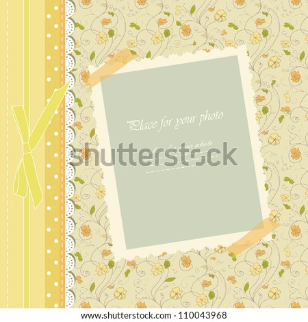 Romantic scrapbooking with text for invitation greeting, birthday, label, postcard frame, baby seamless, child postcard, children pattern, clip art, holiday card, color gift, boy album, vector eps 10 - stock vector