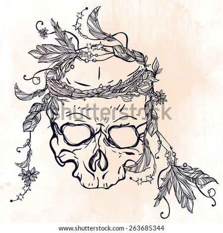 Romantic scull adorned with leaves and surrounded by feathers on watercolor background.  Vintage Template. Tattoo design. Vector illustration. - stock vector