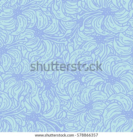 Romantic seamless blue pattern with hand-drawn doodle flowers. Can be used for backgrounds, wrapping paper, package, textile, wedding invitation or cards for Valentine's Day. Vector illustration.