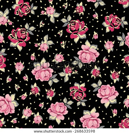 romantic seamless floral pattern background over black - stock vector