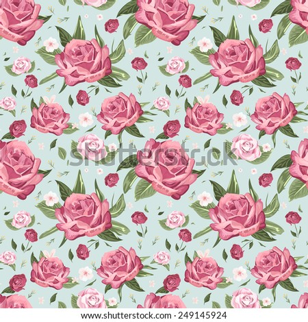 romantic seamless floral pattern background over blue
