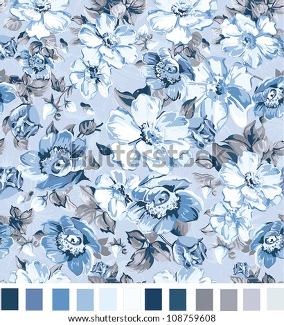 Romantic Seamless floral pattern with stylized flowers. Elegance Floral vector illustration. - stock vector