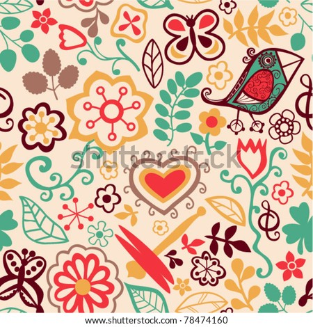 Romantic seamless pattern, floral background - stock vector