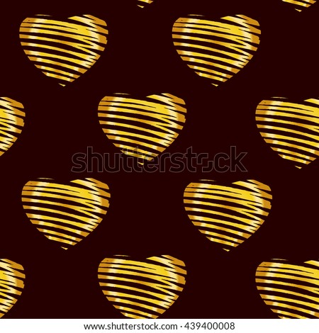 Romantic Seamless pattern. Hand drawn sketch. Stylized golden hearts on dark background. - stock vector
