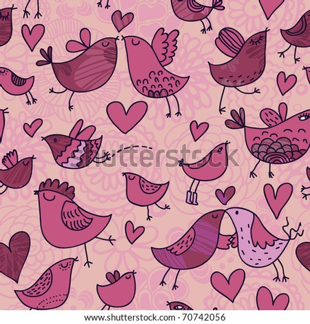 Romantic seamless pattern in cartoon style. Birds in love - stock vector