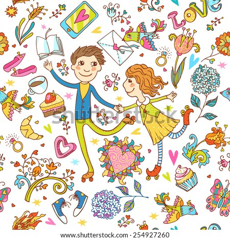 Romantic seamless pattern with cute roller skate love couple, love lettering, love birds, desserts and flowers. Can be used for cards, invitations, fabrics, wallpapers, stickers and decoration.  - stock vector