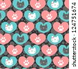 Romantic seamless pattern with hearts and kittens - stock vector
