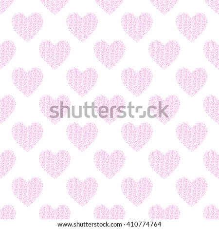 Romantic seamless pattern with pink hearts. Vector background, surface seamless pattern, all over print. - stock vector