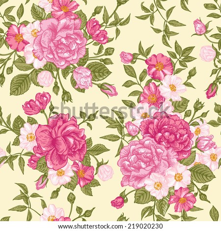 Romantic seamless pattern with pink roses on a light background. Vector illustration. - stock vector