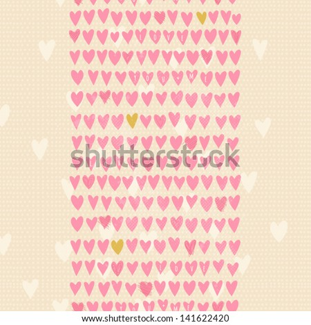 Romantic seamless pattern with small hand drawn hearts. Cartoon background in pastel pink color. Vector illustration for your textile, paper, stationery or skin design. - stock vector