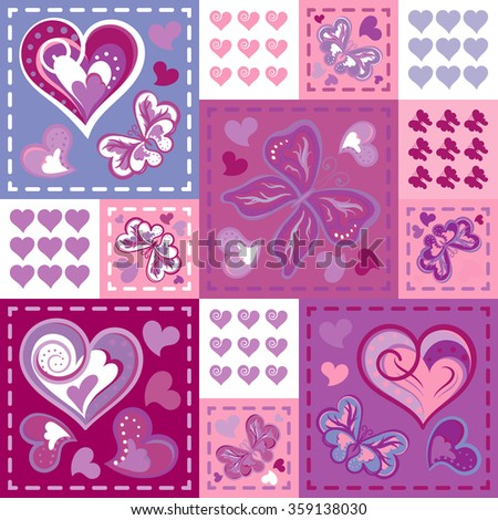 Romantic seamless patterns in patchwork style. Vector hand drawing barrefly and hearts set. Cartoon patterns for cute wallpapers