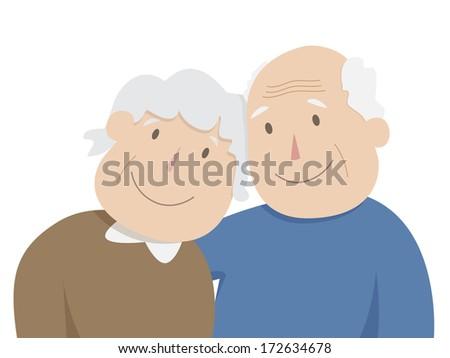 Romantic Senior Couple Hugging - stock vector