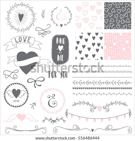 Romantic set with elements for design. Brushes, frames, seamless patterns and other elements. Vector illustration.