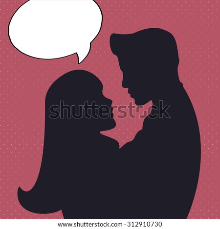 Romantic silhouette with man and woman in comics style.Hug of two people in love in pop art style with talk bobble poster or banner. - stock vector