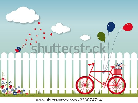 romantic spring day - stock vector