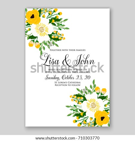 Romantic spring floral rustic flowers background stock vector 2018 romantic spring floral of rustic flowers background for wedding invitation vector template card yellow flowers stopboris Images