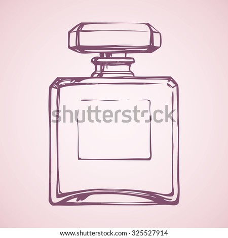 Romantic stylish icon of old square odour make spirit flask isolated on light pink backdrop. Freehand linear ink drawn sign sketch in art style pen on paper. Close-up view with space for text on tag - stock vector