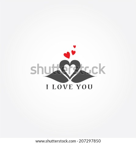 romantic swan during valentine's day vector - stock vector