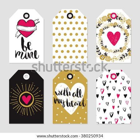 Romantic tags collection. Vector hand drawn set of love theme.