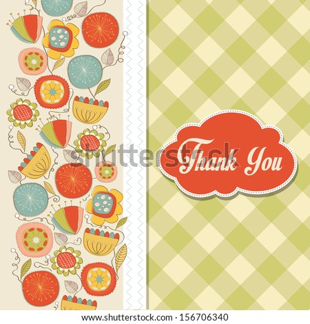romantic Thank You card with flowers, illustration in vector format
