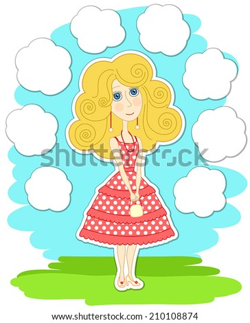 Romantic thoughtful girl in pink dress, and white clouds around - stock vector