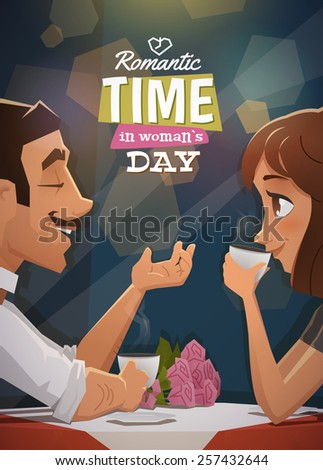 Romantic time in womans day - stock vector