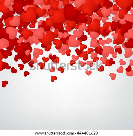 Romantic valentine background with red hearts. Vector illustration.
