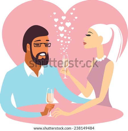 Romantic valentine couple drinking champagne - stock vector