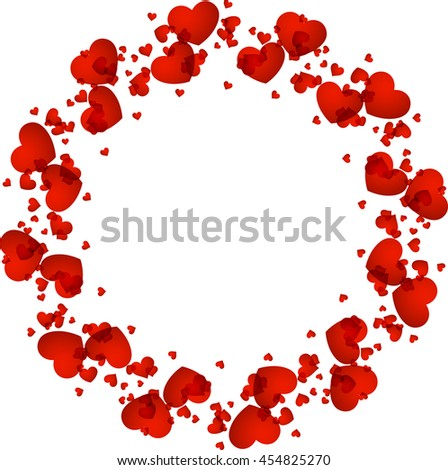 Romantic valentine's card with red hearts. Vector paper illustration.