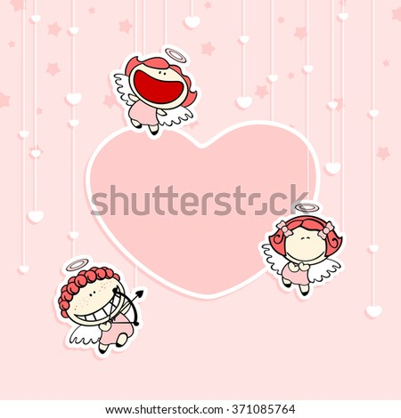 Romantic Valentine's Day card with cute cupids and space for your text or photo - stock vector